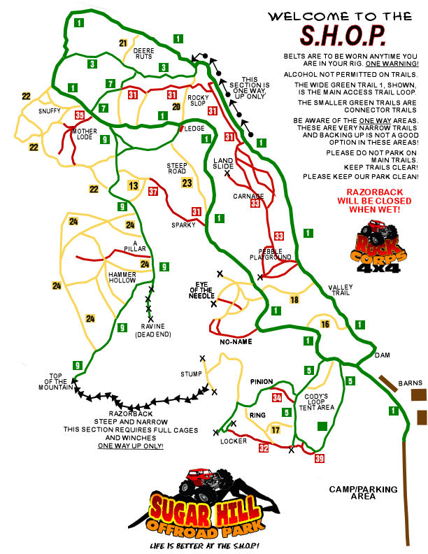 Sugar Hill Off Road Park Trail Map
