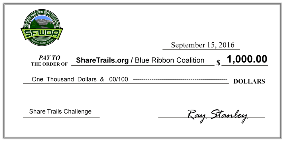 SFWDA contributes $1,000 annually to BRC, and now to the Share Trails Challenge for 2016
