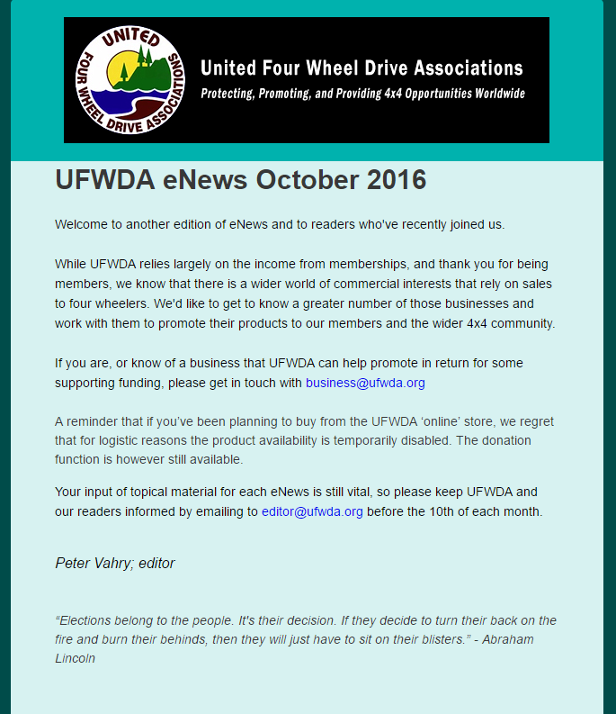 UFWDA eNews October 2016