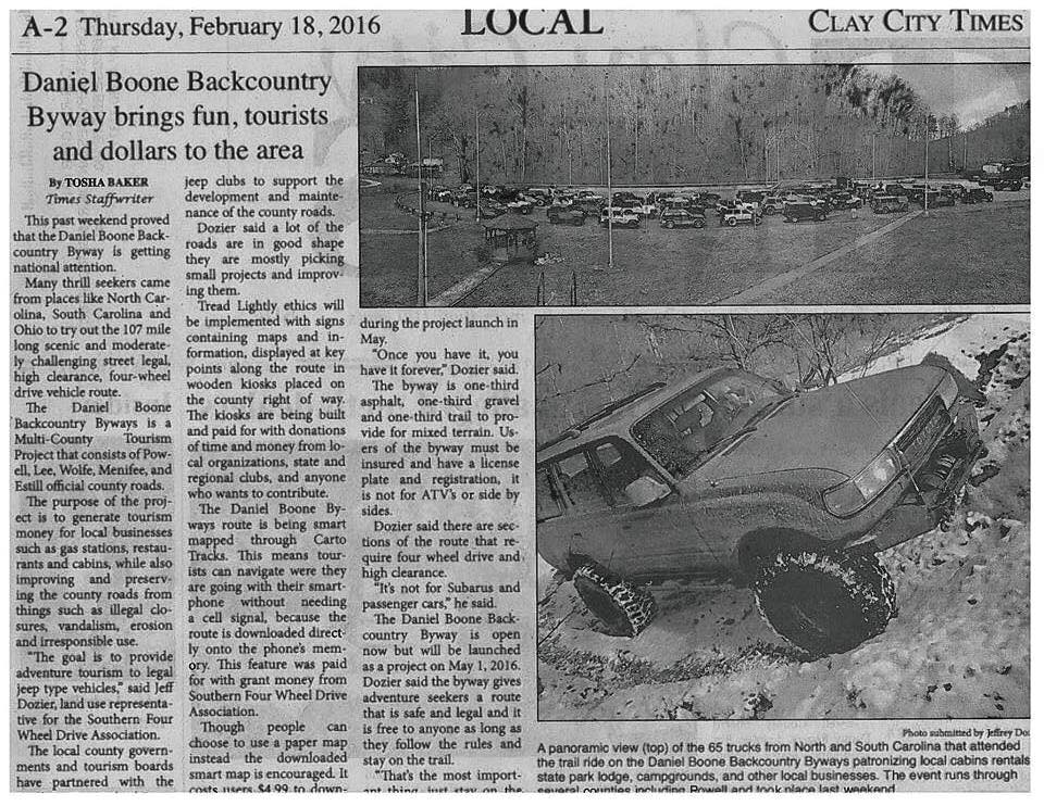 Local Clay City Times paper article on the DBBB.