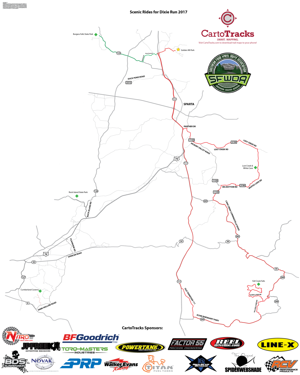 Dixie Run 2017 Scenic Rides - Map