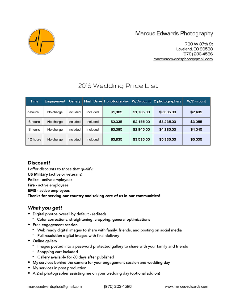 2016 Wedding Price List