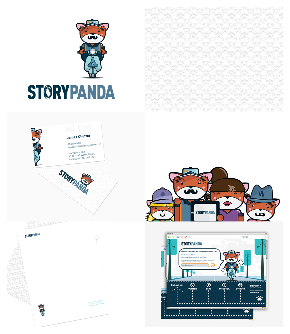 "Storypanda Branding Storypanda is an interactive tablet publishing app that provides the tools for parents and kids to create and share stories together. CHALLENGE. How to create an identity that will tell a story about a red panda that is appealing to kids and ""urban"" parents and that showcases Storypanda's big idea? APPROACH AND SOLUTION. After the research phase, sketches, concept development, and based on the brand pyramid that was developed with the client, we identified 4 key brand aspects: Storytelling, creativity/playfulness, technology, and honesty. CONCEPT. Storytelling. Create a Red Panda delivery guy that lives inside the Company's app. He delivers all the stories from the users that create and share them. He is modern, hip, playful, youthful and unconventional. Oh, he also rides a vespa. Creativity and playfulness. Create a scribble to replace the O in story. Technology. Blue colour palette. Honesty. Uppercase, no BS san–serif font    RESULTS. Storypanda has been featured throughout top media outlets, including FastCompany, Mashable, Wired, Forbes, and the Financial Post. Storypanda has been named one of the top digital media companies to watch for. Storypanda has secured partnerships with Warner Brothers, Peanuts, Dreamworks with all of them saying they love the brand."