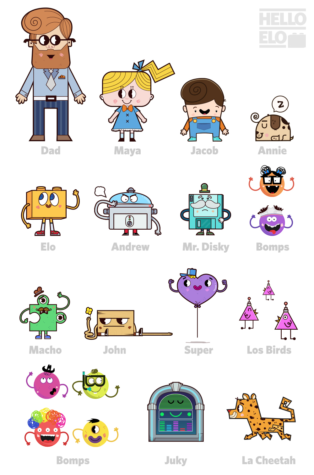 Hello Elo Character Design Character development for WeeFeel's brand Hello Elo. Baked with love. Right from the heart.