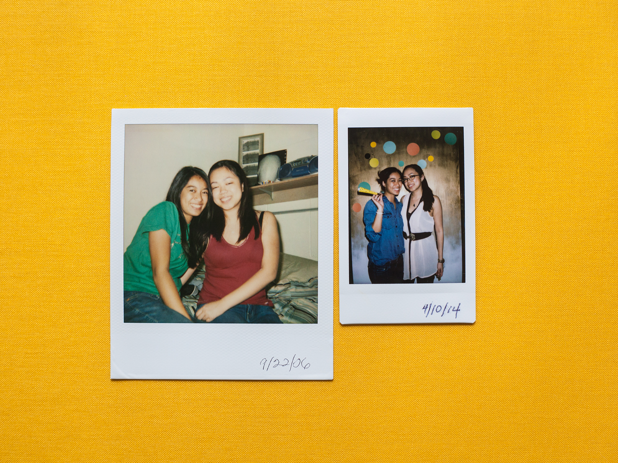 Polaroid on the Left; Instax on the Right