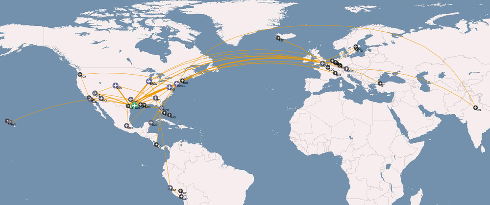 Some places I've visited over the past few years. (map courtesy of openflights.org)