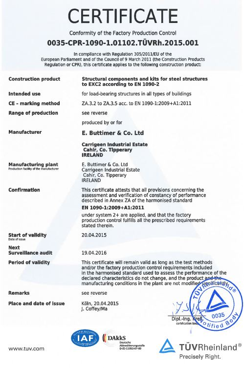 Buttimer Engineering CEMark CE Marking Certification Structural Steel mild stainless fabrication