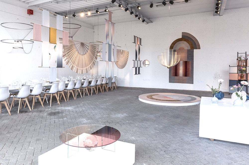 The exhibition installation featuring work by Mae Engelgeer for CC Tapis, Rick Tegelaar for Moooi, Roos Meerman, Susanne de Graaf and Studio Wave and Particle
