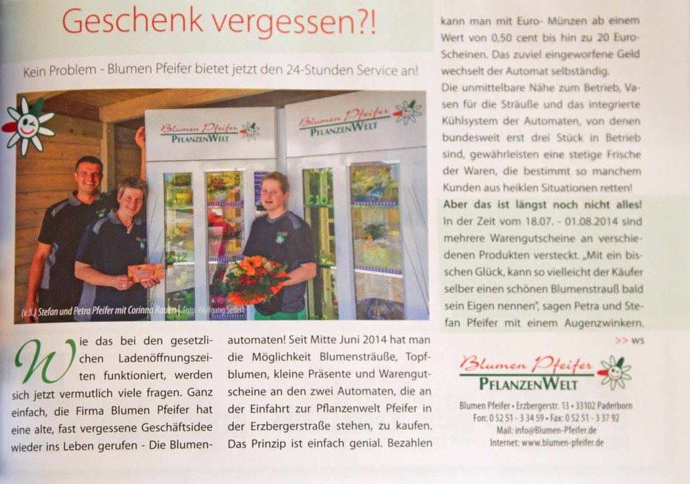 Blumenautomaten. Erschienen in der aktuellen HOCHGLANZ Paderborn   - Paderborn Germany, talking about one of our clients in the city