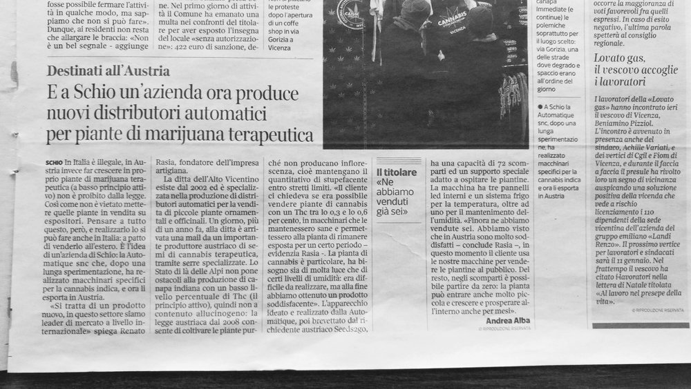 Corriere Della Sera  Italian newspaper talking about our special vending machines