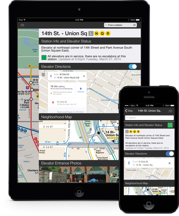 The subway name, line, elevator location, elevator status details, Google Map directions, neighborhood map, and photograph of elevator location are displayed for each station.