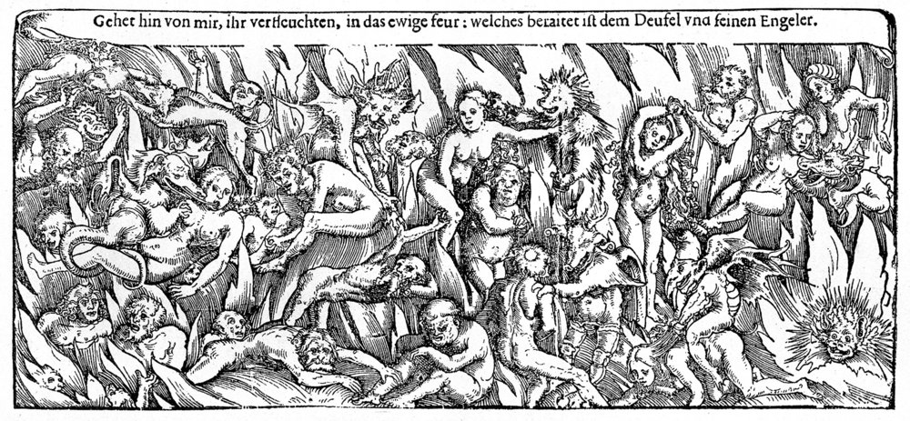 Hell  by Lucas Cranach . German sixteenth century woodcut depicting demons and the damned.