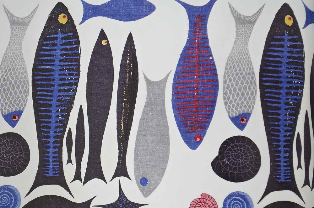 "'A Fish is a Fish is a Fish', designed by the painter and designer Ken Scott in 1951.  Originally printed on dress  and upholstery fabric by W. B. Quaintence in NYC.  On view at  The American Textile History Museum's exhibit, ""Artist Textiles: Picasso to Warhol,"" through March 29th."