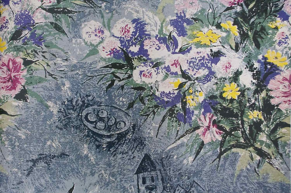 Chagall's 'Belle Fleurs,' produced with Fuller Fabrics.