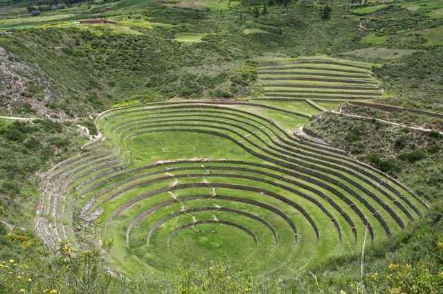 The Inca ruins of Moray in the heart of the Sacred Valley of Peru.