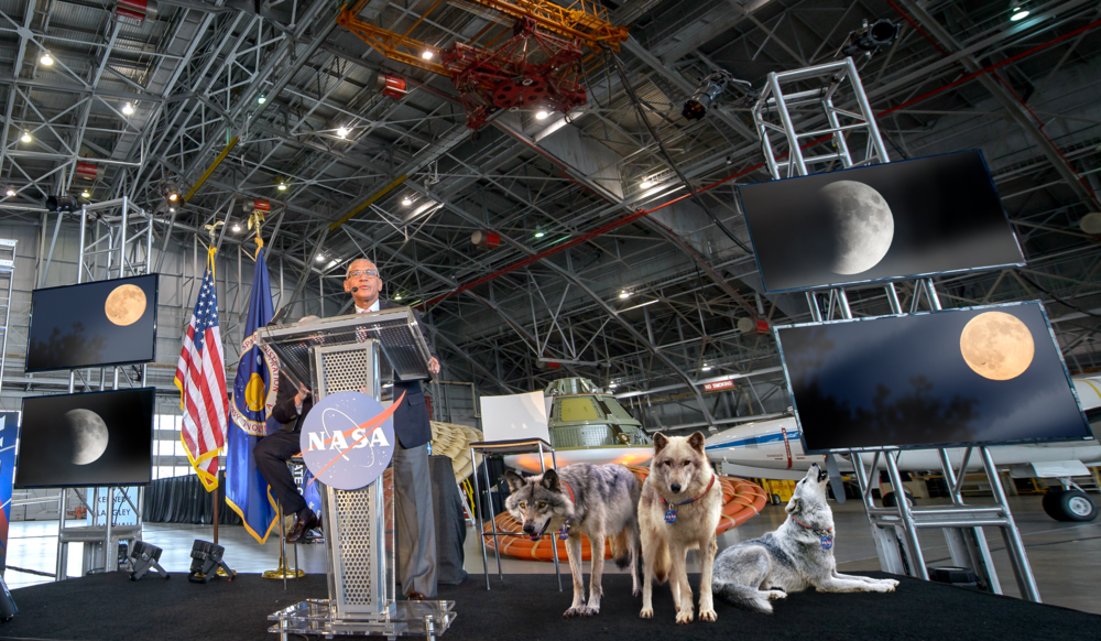 NASA Administrator, Charles Bolden, announces latest plans to send wolves to the moon to investigate the effects space flight has on a variety of viable species in press conference Friday morning.