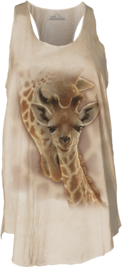 The Newborn Giraffe T-Shirt by Collin Bogleis a gentle reminder of those soft tender moments that a new Mom should never take for granted.