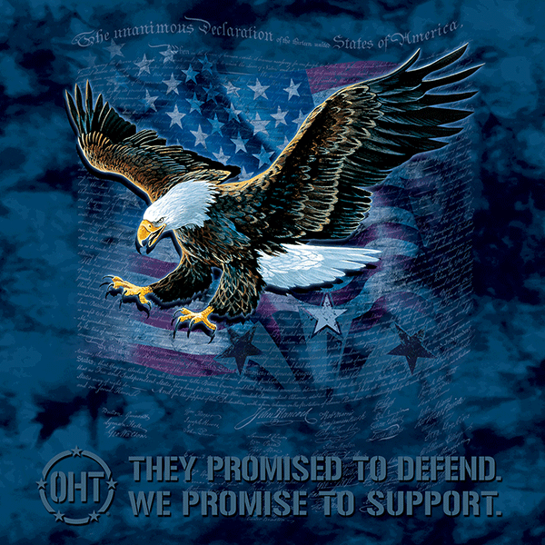 """Nothing says """"hard-working tax-paying patriot"""" like a fierce eagle screaming across your chest, with the Constitution of the United States and an American flag for a backdrop. Whoa!You can't help but declare your independent spirit with the Eagle Defend T-Shirt from The Mountain®. Those founding fathers of liberty knew they were cooking up something special, and now it's your chance to say """"Hell-ya!""""Sink your claws into this comfortable tee and support Operation Hat Trick. We're pretty certain John Hancock would order two, if he could."""