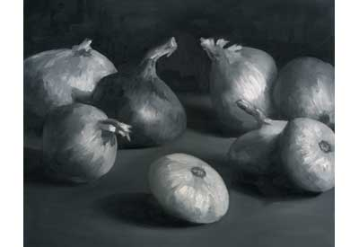 Onion, Black and White - oil