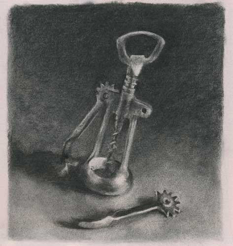 Corkscrew - charcoal drawing