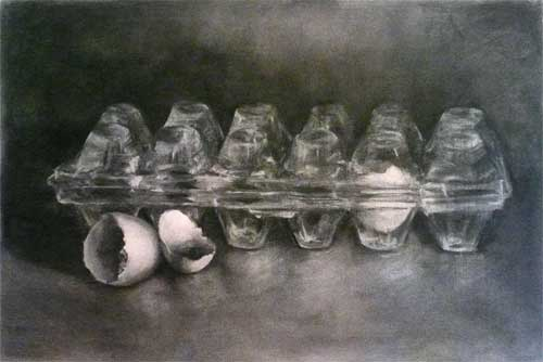 charcoal drawing of an empty plastic egg box with egg shells