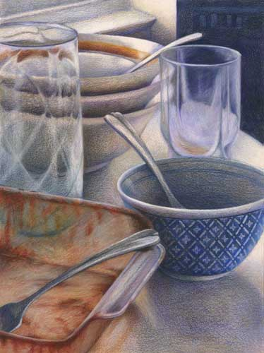 color pencil still life drawing of dirty dishes