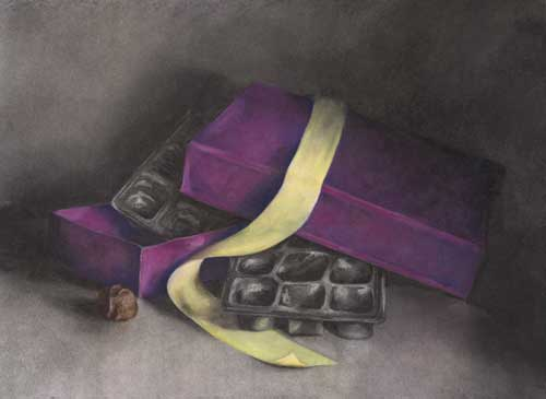 purple chocolate box with green ribbon | charcoal and pastel drawing