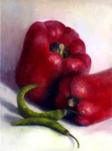 Bell and Chili - oil painting