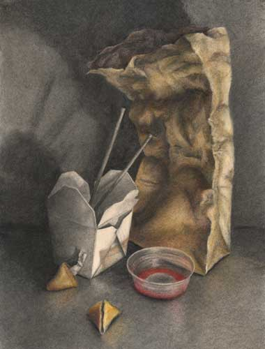 "Sweet and Sour : charcoal and pastel still life drawing 30"" x 22"""