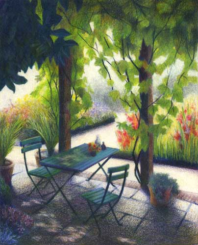 Delicious Respite : colored pencil landscape drawing