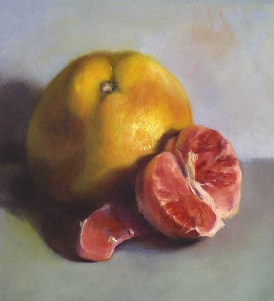 Pink Grapefruit, Split and Segmented, oil painting on paper  |  SOLD