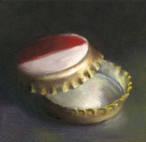 Crown Caps - small still life oil painting