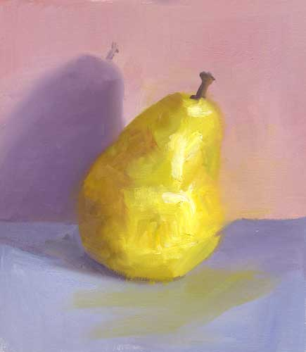 Yellow Pear I - small oil painting