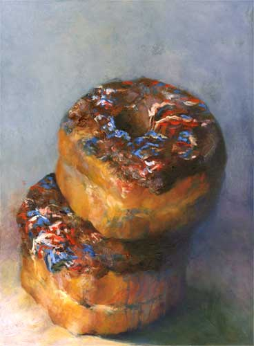 chocolate glazed donuts : oil on board