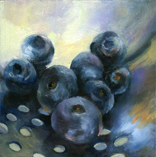 mini still life oil painting of blueberries