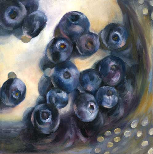 blueberries still life oil painting 8x8"