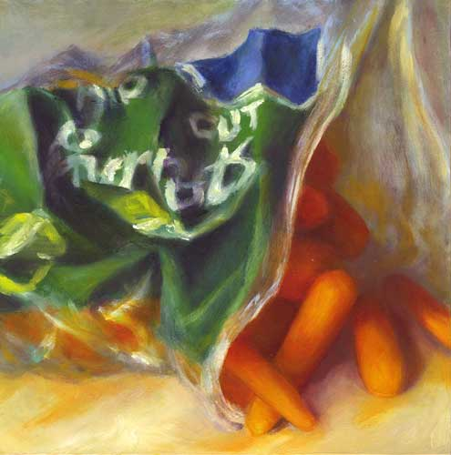 cut baby carrots oil painting still life