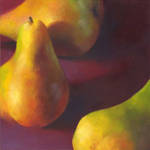 Warm Pears in Burgundy - still life oil painting | SOLD