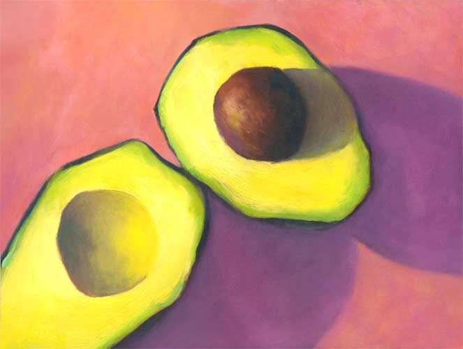 avocado in pink, still life oil painting | SOLD