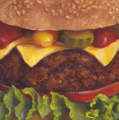 burger still life oil painting 8x8""