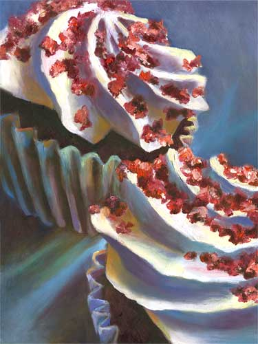 "sill life oil painting 12x9"" cupcake spirals"