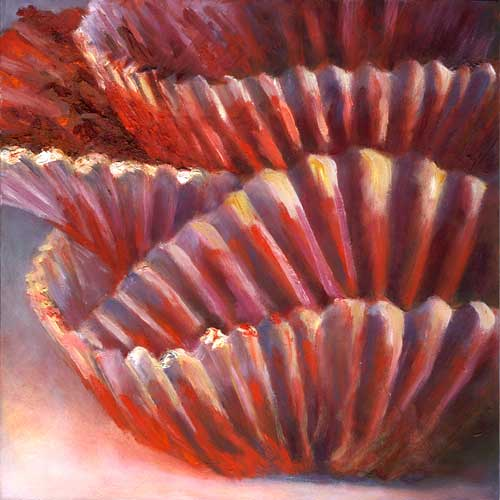 Red Velvet Ruffle : oil 8x8""