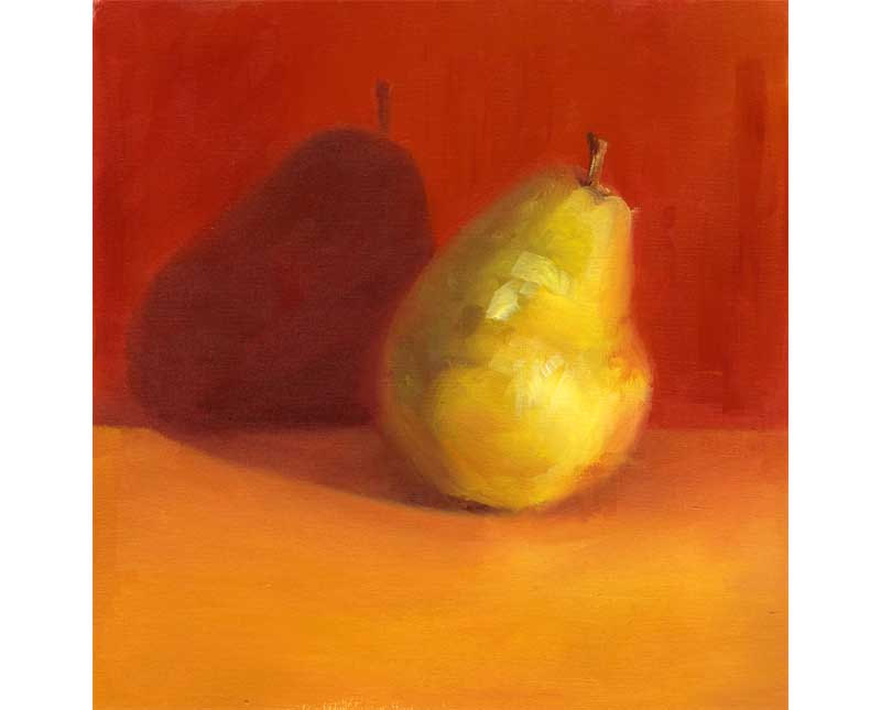 Yellow Pear III - small oil painting - 9x9""