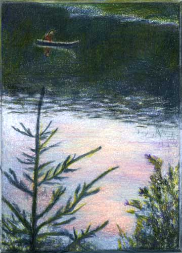 Across Sunset Pond, miniature color pencil landscape