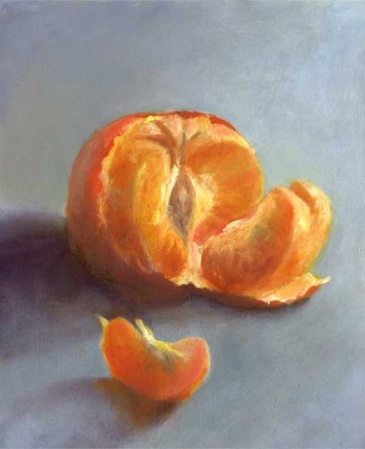 Tangerine Segment, oil painting 8x10