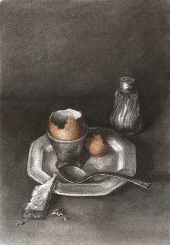 Dippy Eggs and Soldiers | charcoal and pastel still life drawing | 16x12""