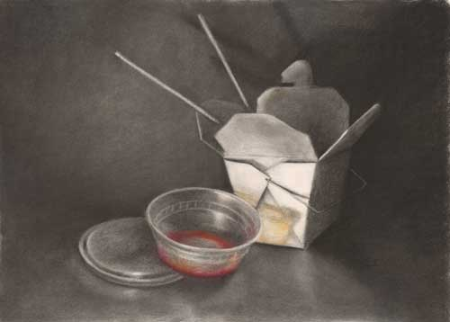 Sweet and Sour : charcoal and pastel still life drawing