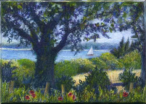 A Slice of Solent, miniature colored pencil landscape drawing