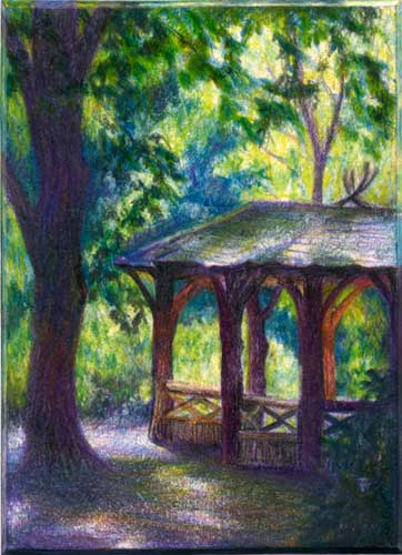 Rambling in Central Park, New York, NY color pencil miniature landscape