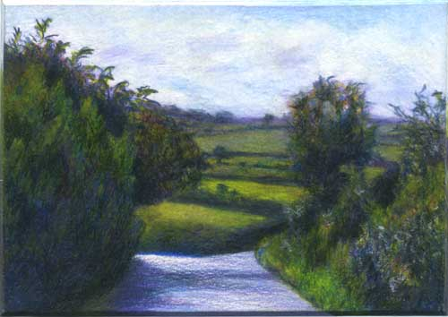 Isle of Wight hedgerows, color pencil miniature landscape